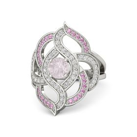 Round Rose Quartz Palladium Ring with White Sapphire and Pink Tourmaline
