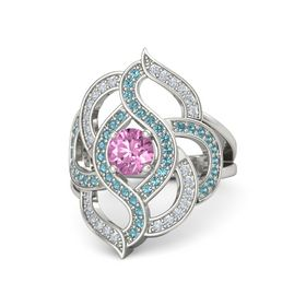 Round Pink Sapphire Platinum Ring with London Blue Topaz and Diamond