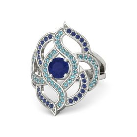 Round Blue Sapphire Platinum Ring with London Blue Topaz and Blue Sapphire
