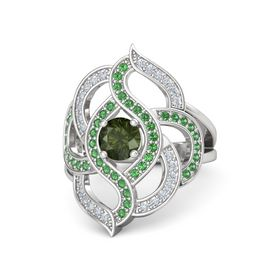 Round Green Tourmaline Sterling Silver Ring with Emerald and Diamond