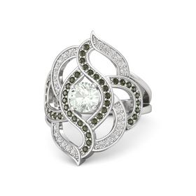 Round Green Amethyst Sterling Silver Ring with Green Tourmaline and White Sapphire