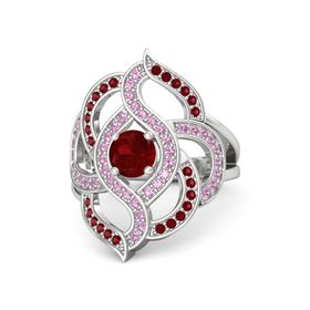 Round Ruby Sterling Silver Ring with Pink Tourmaline and Ruby