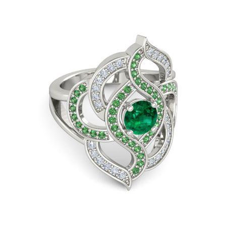 Round Emerald Platinum Ring with Emerald & Diamond ...