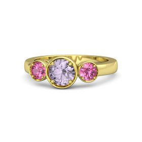 Round Rose de France 14K Yellow Gold Ring with Pink Tourmaline