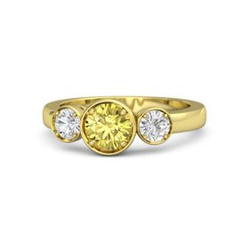 Round Yellow Sapphire 14K Yellow Gold Ring with White Sapphire