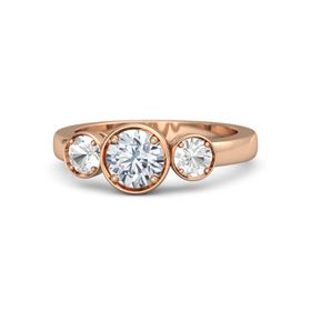 Round Diamond 18K Rose Gold Ring with Rock Crystal