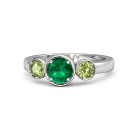 Round Emerald Sterling Silver Ring with Peridot
