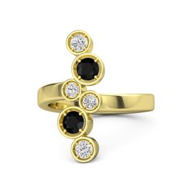 14K Yellow Gold Ring with Black Onyx and White Sapphire