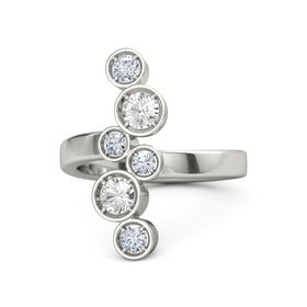 18K White Gold Ring with Rock Crystal & Diamond