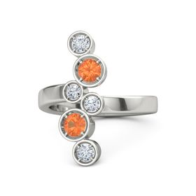 Palladium Ring with Fire Opal & Diamond