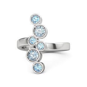 Sterling Silver Ring with Aquamarine and Blue Topaz