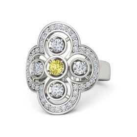 Round Yellow Sapphire 18K White Gold Ring with Diamond