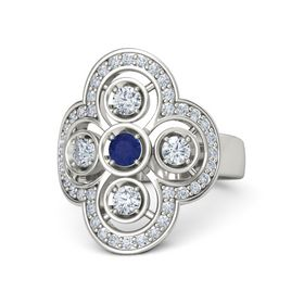 Round Sapphire Palladium Ring with Diamond