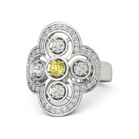 Round Yellow Sapphire Palladium Ring with White Sapphire and Diamond