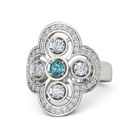 Round London Blue Topaz Platinum Ring with Diamond