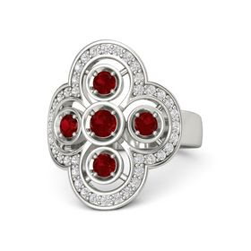 Round Ruby Platinum Ring with Ruby & White Sapphire