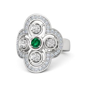 Round Emerald Sterling Silver Ring with White Sapphire & Diamond