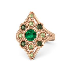 Round Emerald 14K Rose Gold Ring with Green Tourmaline & Peridot