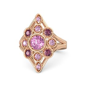 Round Pink Sapphire 14K Rose Gold Ring with Rhodolite Garnet and Pink Sapphire
