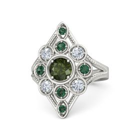 Round Green Tourmaline 14K White Gold Ring with Diamond and Alexandrite