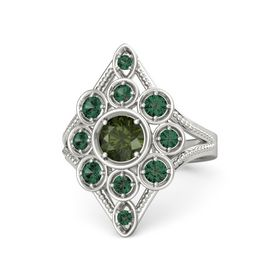 Round Green Tourmaline 14K White Gold Ring with Alexandrite