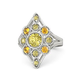 Round Yellow Sapphire 14K White Gold Ring with Citrine and Yellow Sapphire
