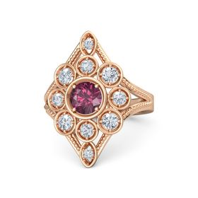 Round Rhodolite Garnet 18K Rose Gold Ring with Diamond