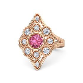 Round Pink Tourmaline 18K Rose Gold Ring with Diamond