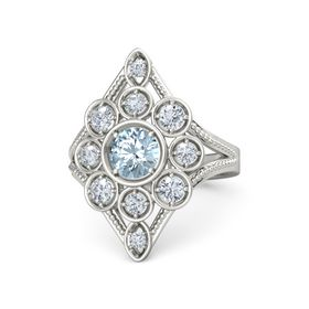 Round Aquamarine 18K White Gold Ring with Diamond