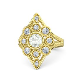 Round Green Amethyst 18K Yellow Gold Ring with Diamond
