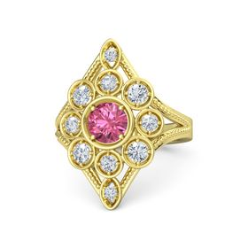 Round Pink Tourmaline 18K Yellow Gold Ring with Diamond