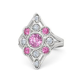 Round Pink Sapphire Sterling Silver Ring with Pink Tourmaline & Diamond