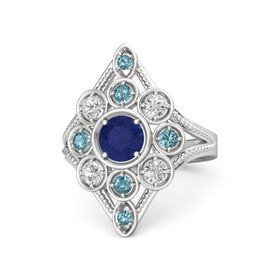 Round Blue Sapphire Sterling Silver Ring with White Sapphire and London Blue Topaz