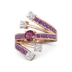 Round Rhodolite Garnet 14K Rose Gold Ring with White Sapphire and Amethyst
