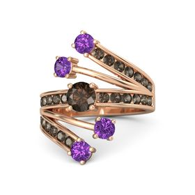 Round Smoky Quartz 14K Rose Gold Ring with Amethyst and Smoky Quartz