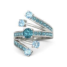 Round London Blue Topaz 14K White Gold Ring with Blue Topaz and London Blue Topaz
