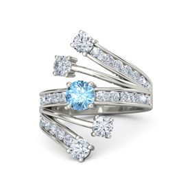 Round Blue Topaz 14K White Gold Ring with Diamond