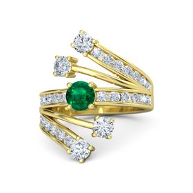 Round Emerald 14K Yellow Gold Ring with Diamond
