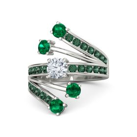 Round Diamond Palladium Ring with Emerald and Alexandrite