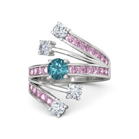 Round London Blue Topaz Sterling Silver Ring with Diamond & Pink Sapphire