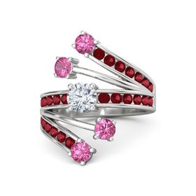 Round Diamond Sterling Silver Ring with Pink Tourmaline and Ruby