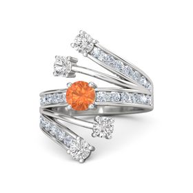 Round Fire Opal Sterling Silver Ring with White Sapphire and Diamond
