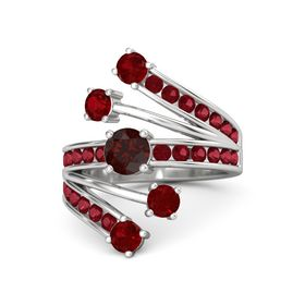 Round Red Garnet Sterling Silver Ring with Ruby