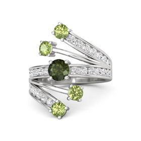 Round Green Tourmaline Sterling Silver Ring with Peridot and White Sapphire