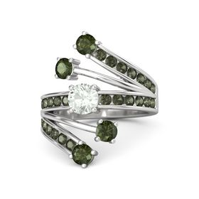 Round Green Amethyst Sterling Silver Ring with Green Tourmaline