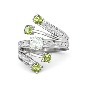Round Green Amethyst Sterling Silver Ring with Peridot & White Sapphire