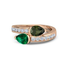 Pear Emerald 14K Rose Gold Ring with Green Tourmaline and Diamond