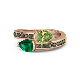 Pear Emerald 14K Rose Gold Ring with Peridot and Green Tourmaline