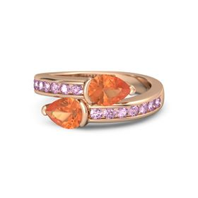 Pear Fire Opal 14K Rose Gold Ring with Fire Opal and Pink Sapphire