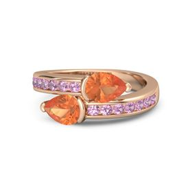 Pear Fire Opal 14K Rose Gold Ring with Fire Opal and Pink Tourmaline